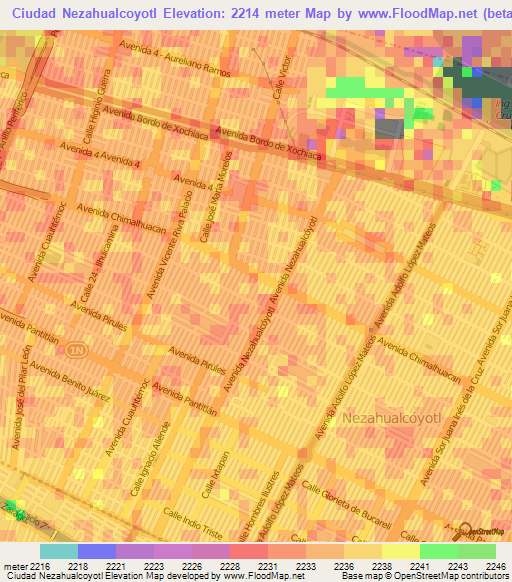 Nezahualcoyotl Mexico Map.Elevation Of Ciudad Nezahualcoyotl Mexico Elevation Map Topography