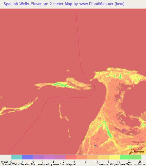 Bahamas Elevation Map.Elevation Of Spanish Wells Bahamas Elevation Map Topography Contour