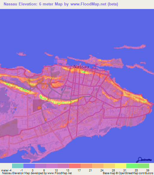 Elevation of Nassau,Bahamas Elevation Map, Topography, Contour