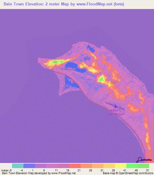 Bahamas Elevation Map.Elevation Of Bain Town Bahamas Elevation Map Topography Contour