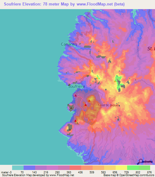 Elevation of Soufriere,Saint Lucia Elevation Map, Topography, Contour