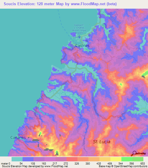 Elevation of Soucis,Saint Lucia Elevation Map, Topography ...