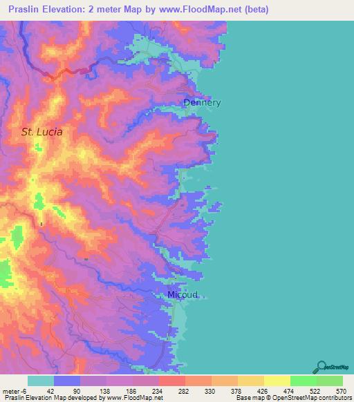 Elevation of Praslin,Saint Lucia Elevation Map, Topography ...