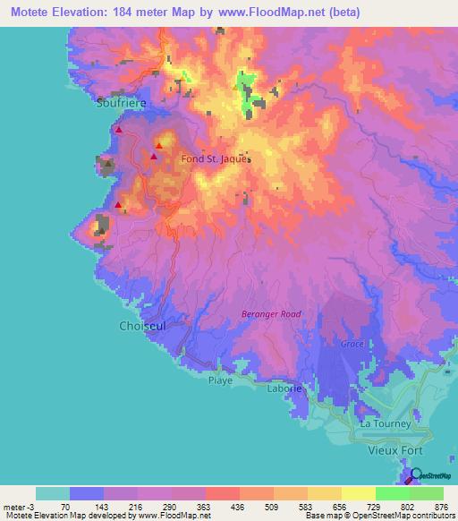 Elevation of Motete,Saint Lucia Elevation Map, Topography, Contour