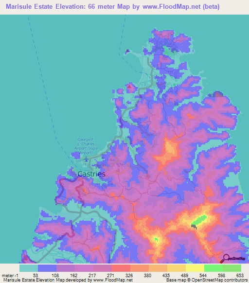 Elevation of Marisule Estate,Saint Lucia Elevation Map ...