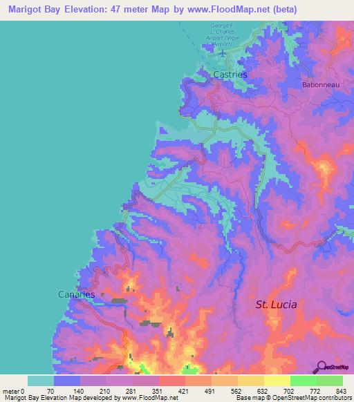 Elevation of Marigot Bay,Saint Lucia Elevation Map, Topography, Contour