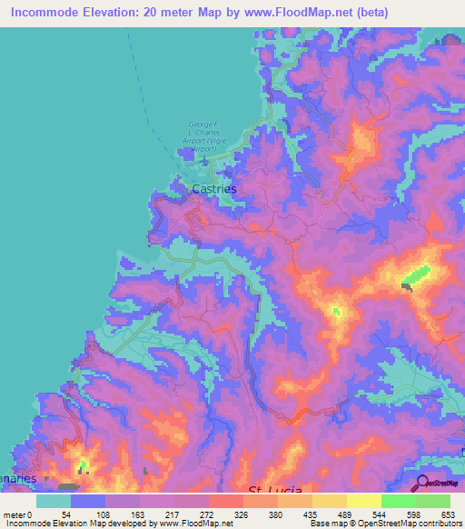 Elevation of Incommode,Saint Lucia Elevation Map, Topography, Contour