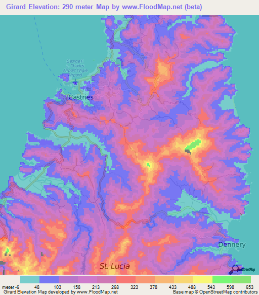 Elevation of Girard,Saint Lucia Elevation Map, Topography, Contour