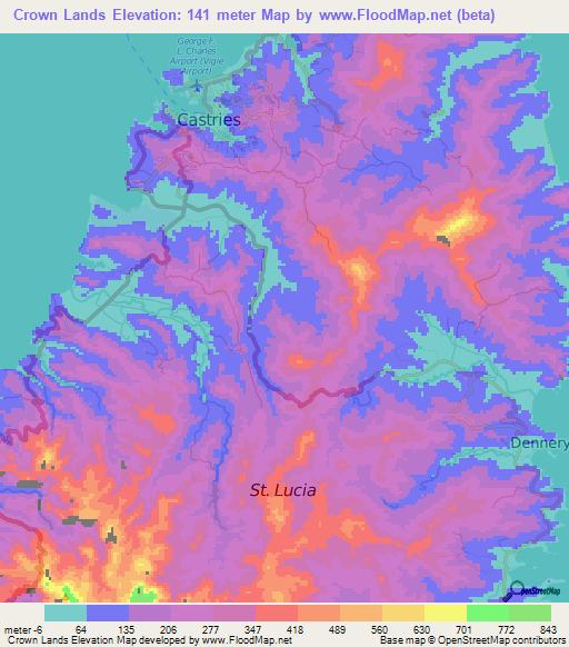 Elevation of Crown Lands,Saint Lucia Elevation Map, Topography, Contour