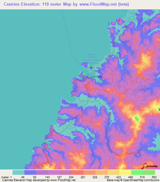 Elevation of Castries,Saint Lucia Elevation Map, Topography, Contour