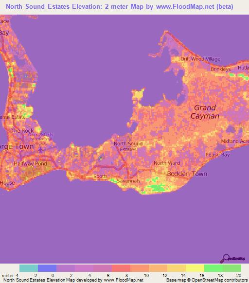 Elevation Of North Sound EstatesCayman Islands Elevation Map - Cayman islands map