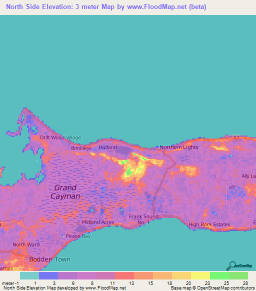 Elevation Of North SideCayman Islands Elevation Map Topography - Cayman islands map