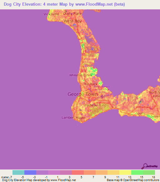 Elevation Of Dog CityCayman Islands Elevation Map Topography - Cayman islands cities map