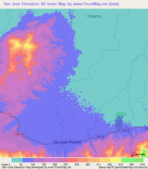 San Jose Elevation Map.Elevation Of San Jose Honduras Elevation Map Topography Contour
