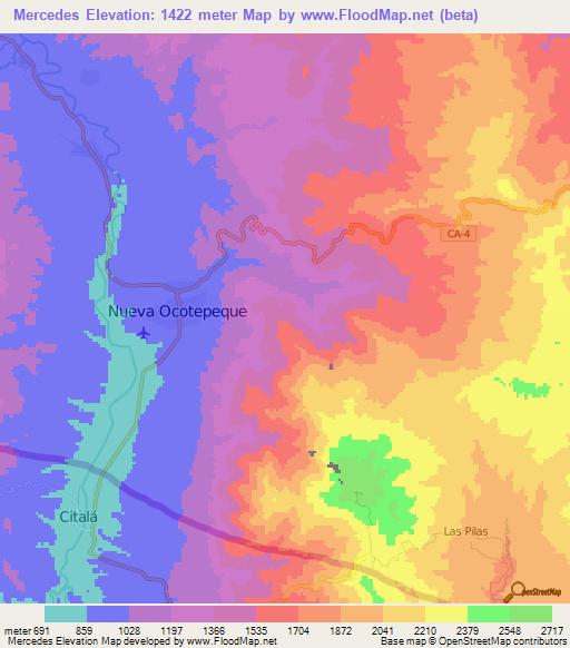 Elevation of Mercedes,Honduras Elevation Map, Topography, Contour