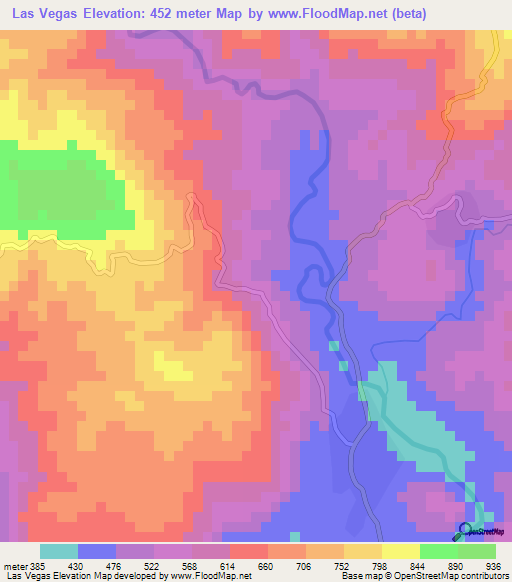 elevation of las vegas honduras elevation map topography contour flood map