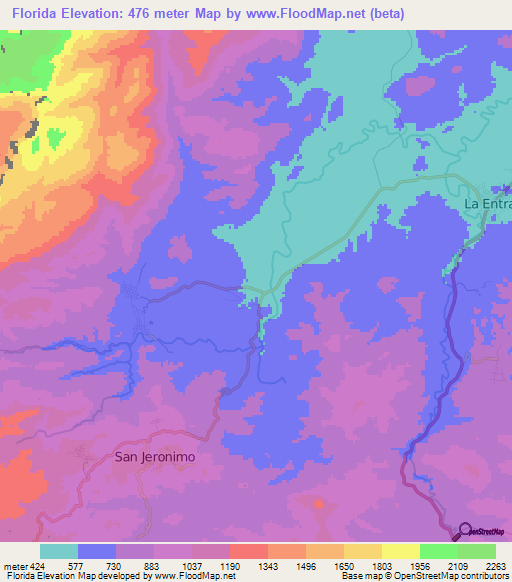 Topography Map Florida.Elevation Of Florida Honduras Elevation Map Topography Contour