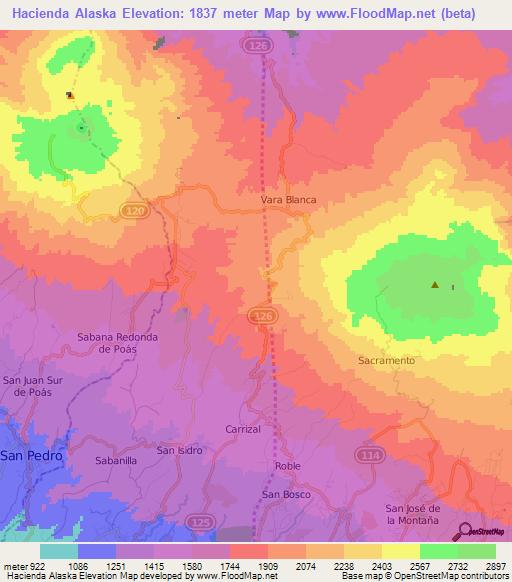 Elevation Of Hacienda Alaska Costa Rica Elevation Map Topography