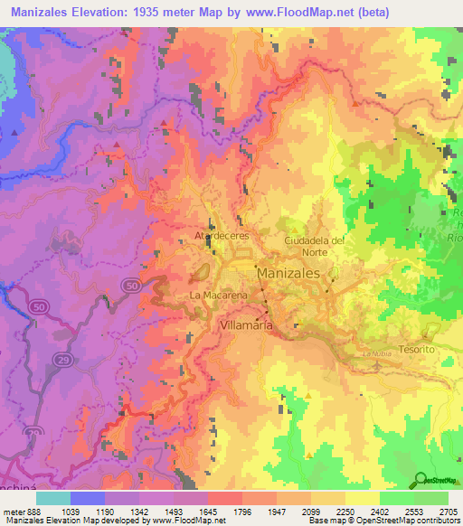 Topographic Map Of Colombia.Elevation Of Manizales Colombia Elevation Map Topography Contour