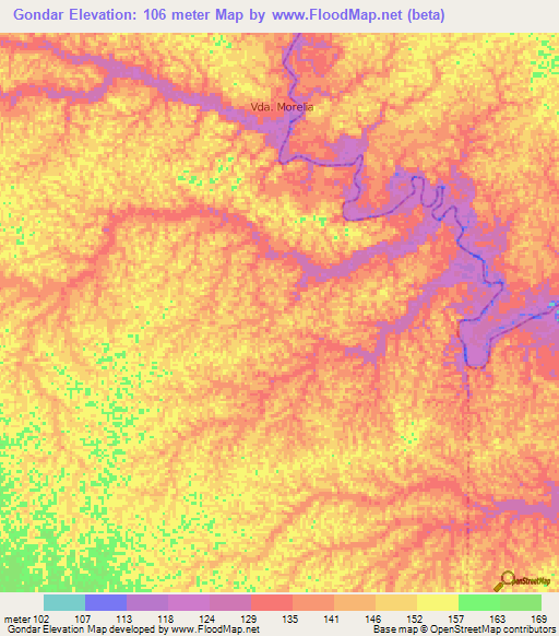 Elevation Of GondarColombia Elevation Map Topography Contour - Gondar map