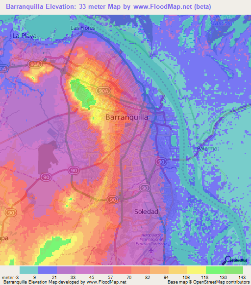 Topographic Map Of Colombia.Elevation Of Barranquilla Colombia Elevation Map Topography Contour