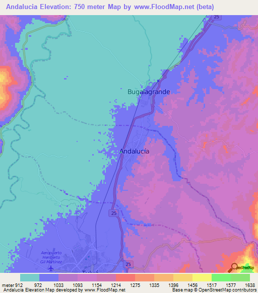 Topographic Map Of Colombia.Elevation Of Andalucia Colombia Elevation Map Topography Contour