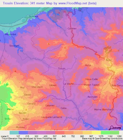 Topographic Map Of Haiti.Elevation Of Trouin Haiti Elevation Map Topography Contour