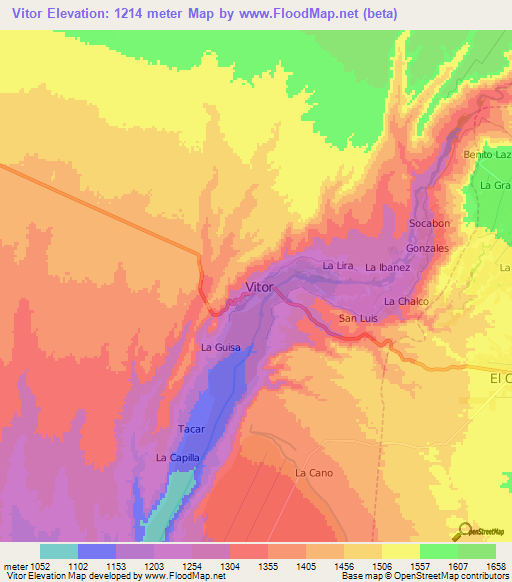 Elevation Of Vitor Peru Elevation Map Topography Contour