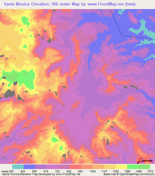 Elevation of Santa Monica,Mexico Elevation Map, Topography ...