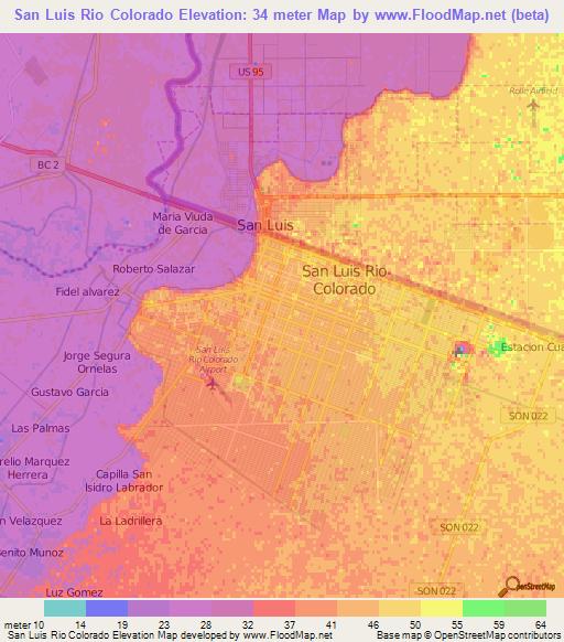 Elevation Of San Luis Rio Colorado Mexico Elevation Map Topography