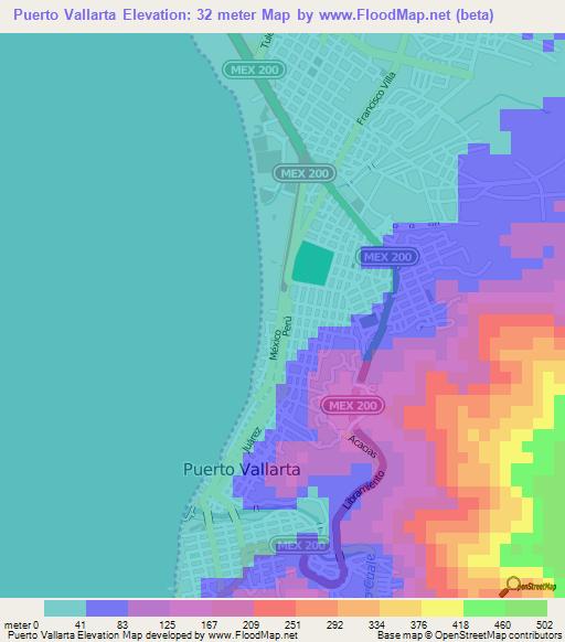 Elevation Of Puerto Vallarta Mexico Elevation Map Topography Contour