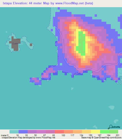 Elevation Of Ixtapa Mexico Elevation Map Topography Contour