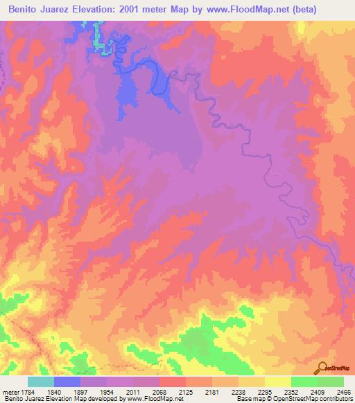 Elevation Of Benito Juarez Mexico Elevation Map Topography Contour