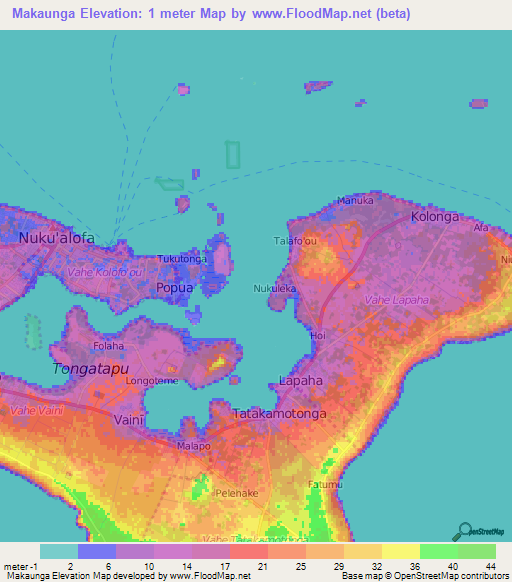 Elevation Of MakaungaTonga Elevation Map Topography Contour - Tonga map
