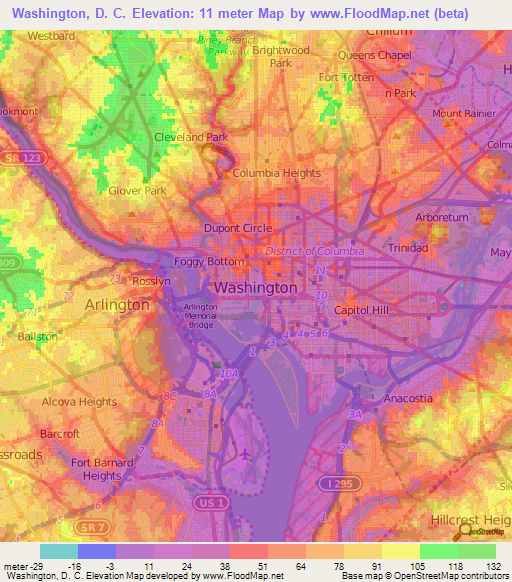 Elevation of Washington, D. C.,US Elevation Map, Topography, Contour