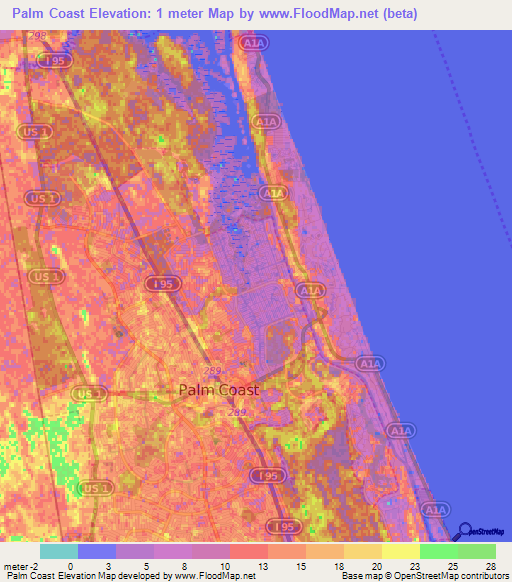 Elevation of Palm Coast,US Elevation Map, Topography, Contour
