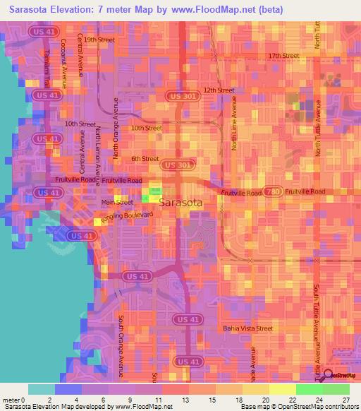 topographic map sarasota county Elevation Of Sarasota Us Elevation Map Topography Contour