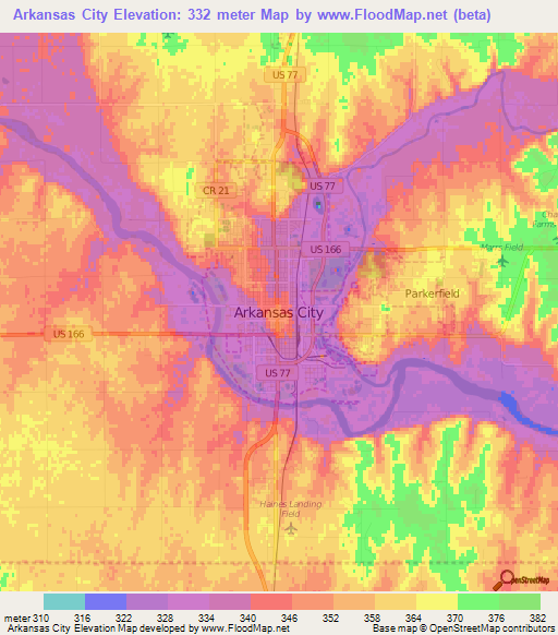 Elevation of Arkansas City,US Elevation Map, Topography, Contour