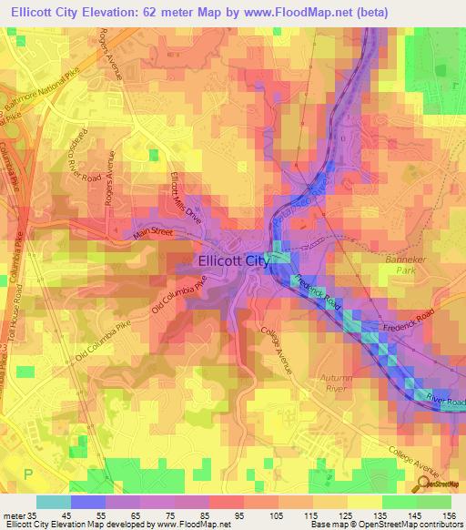Elevation Of Ellicott CityUS Elevation Map Topography Contour - Us city elevations map