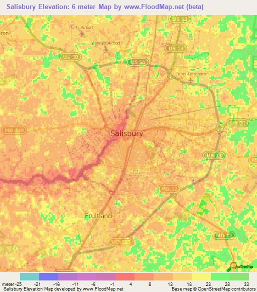Elevation Of Salisbury Us Elevation Map Topography Contour