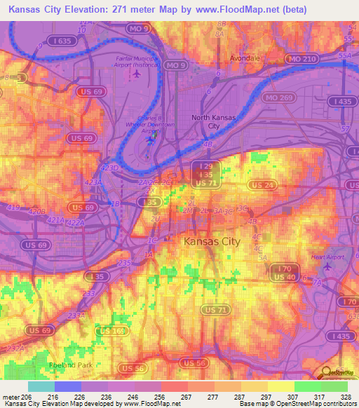 Elevation of Kansas City,US Elevation Map, Topography, Contour