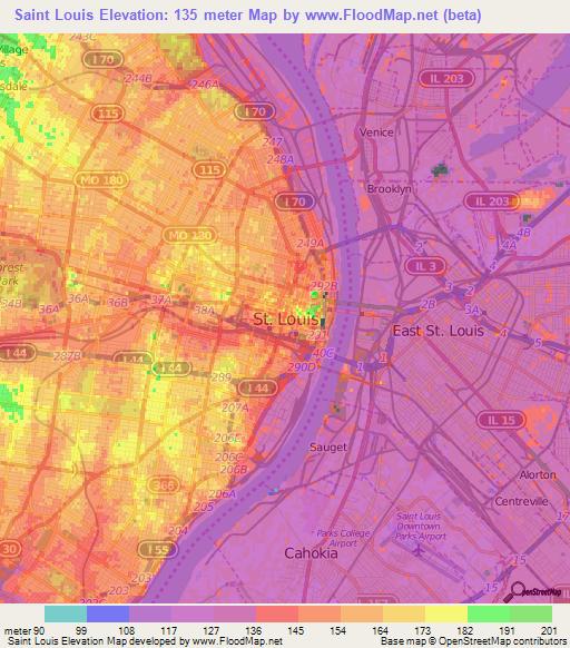 st louis elevation map Elevation Of Saint Louis Us Elevation Map Topography Contour