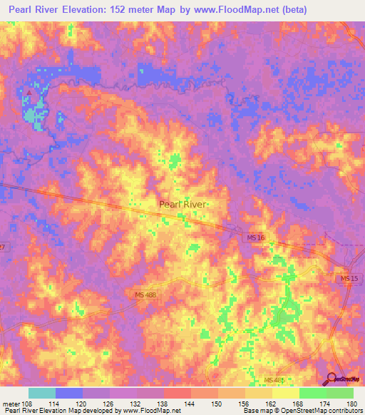 Elevation of Pearl River,US Elevation Map, Topography, Contour on
