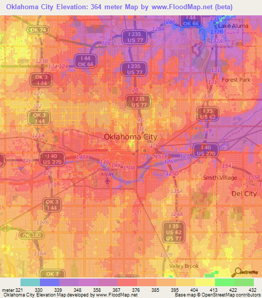 Elevation Of Oklahoma City Us Elevation Map Topography Contour