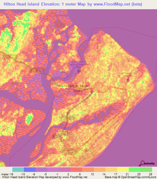 Elevation Of Hilton Head IslandUS Elevation Map Topography Contour - Elevation map us