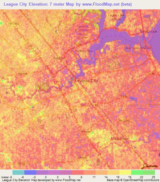 Elevation Of League CityUS Elevation Map Topography Contour - Us city elevations map