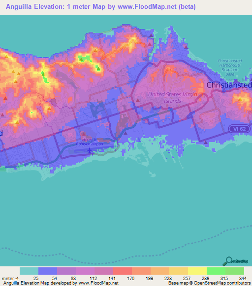Elevation Of AnguillaUS Virgin Islands Elevation Map - Map of anguilla