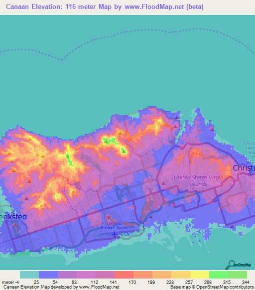 Elevation of CanaanUS Virgin Islands Elevation Map Topography