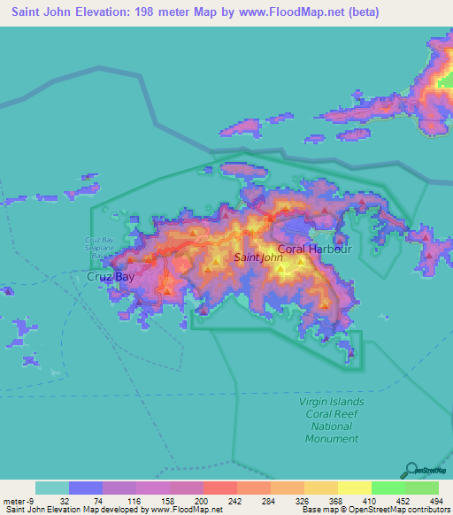 Elevation Of Saint JohnUS Virgin Islands Elevation Map - Map of st john us virgin islands
