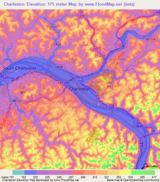 Elevation of Charleston,US Elevation Map, Topography, Contour